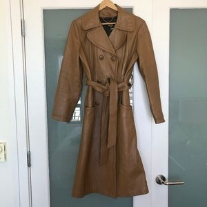 Vintage Leather Camel Duster Jacket Knee Length